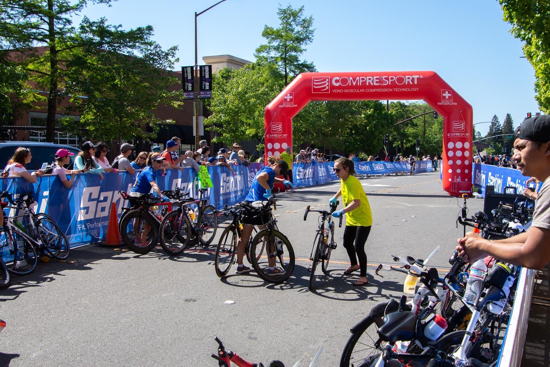 Bike/run transition at Santa Rosa Ironman