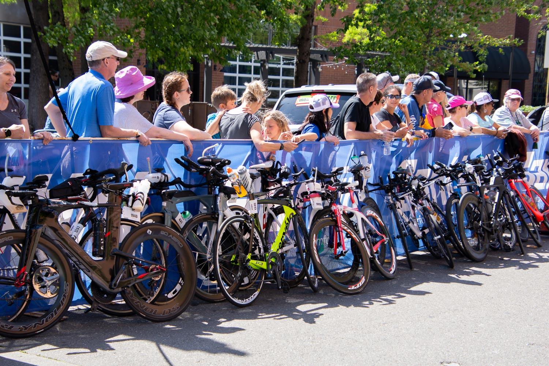 Bikes at bike/run transition at Ironman 2019 Santa Rosa.
