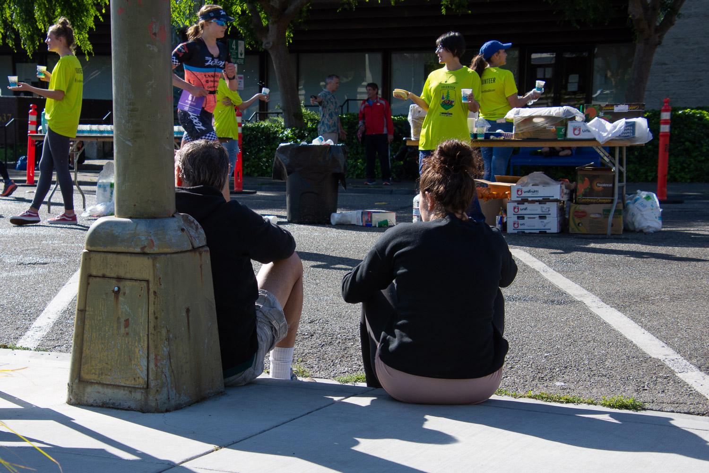 Waiting for runners at Ironman 2019 Santa Rosa.