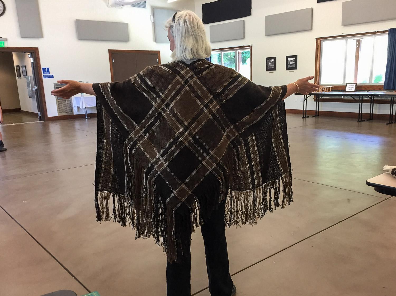 Finished v-shawl in sheep to shawl demo.