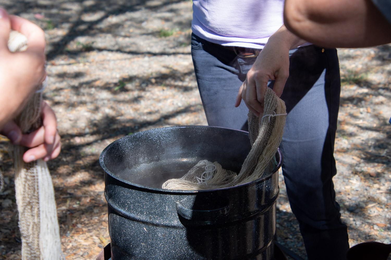 Dye pot at farm day