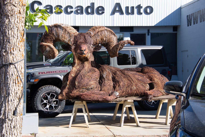 Ram sculpture in Cascade Idaho