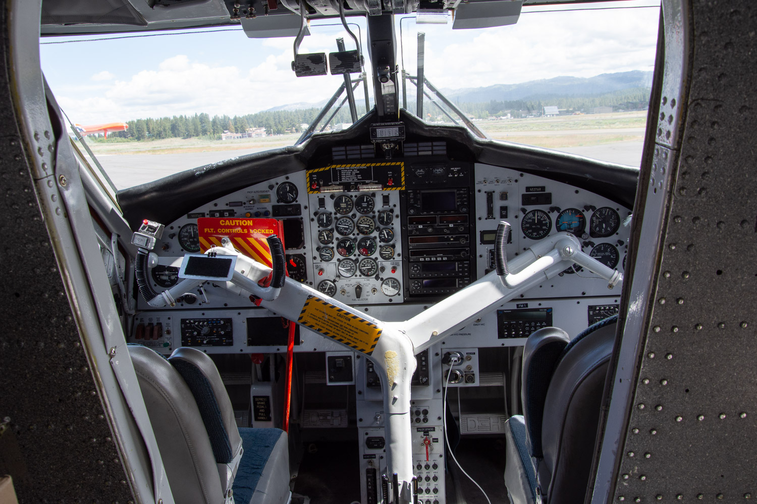 Twin Otter airplane controls.