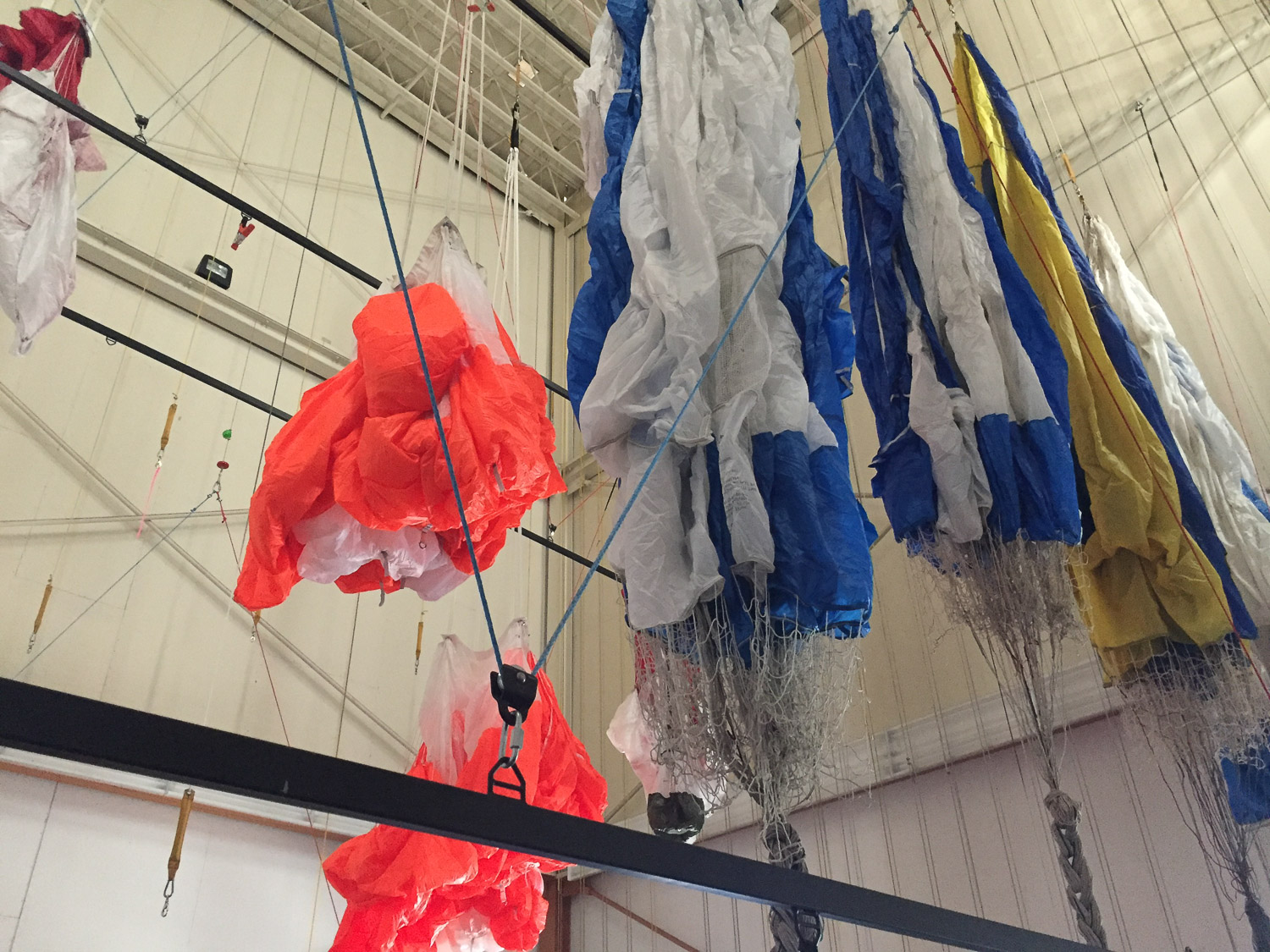 Parachutes hanging for inspection