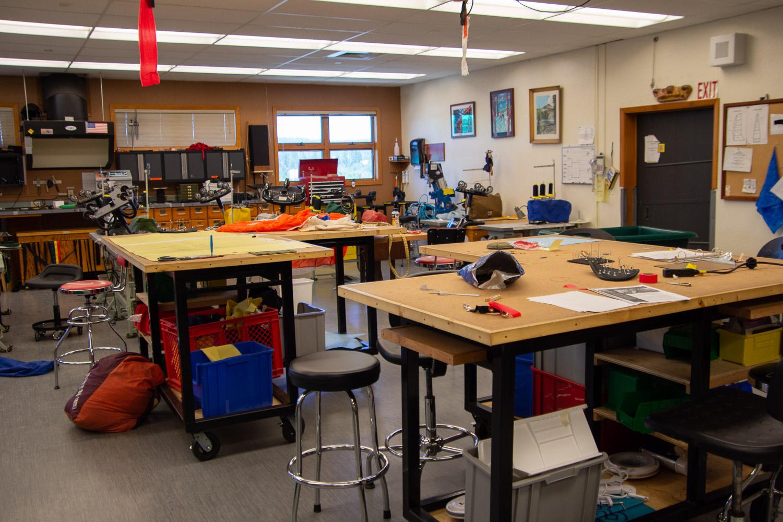 Sewing room at Smokejumper Base.