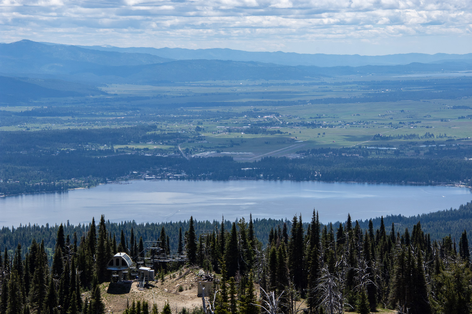 Payette Lake and McCall from the Brundage Mountain lookout,  Idaho.