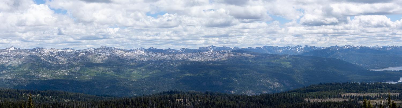 Panorama of mountains east of McCall Idaho.