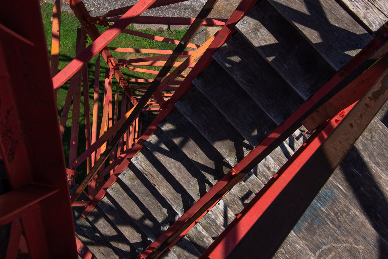 Stairs up fire tower at Mohican state park, ohio