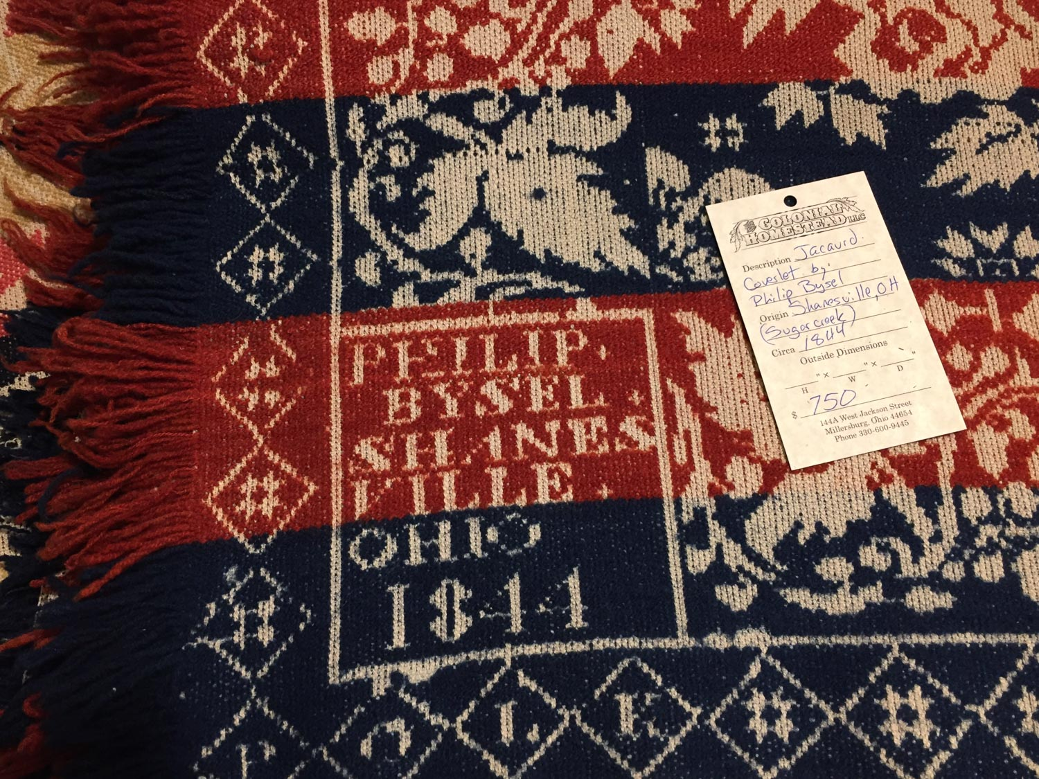 Coverlet 1844 at Colonial Homestead in Ohio.
