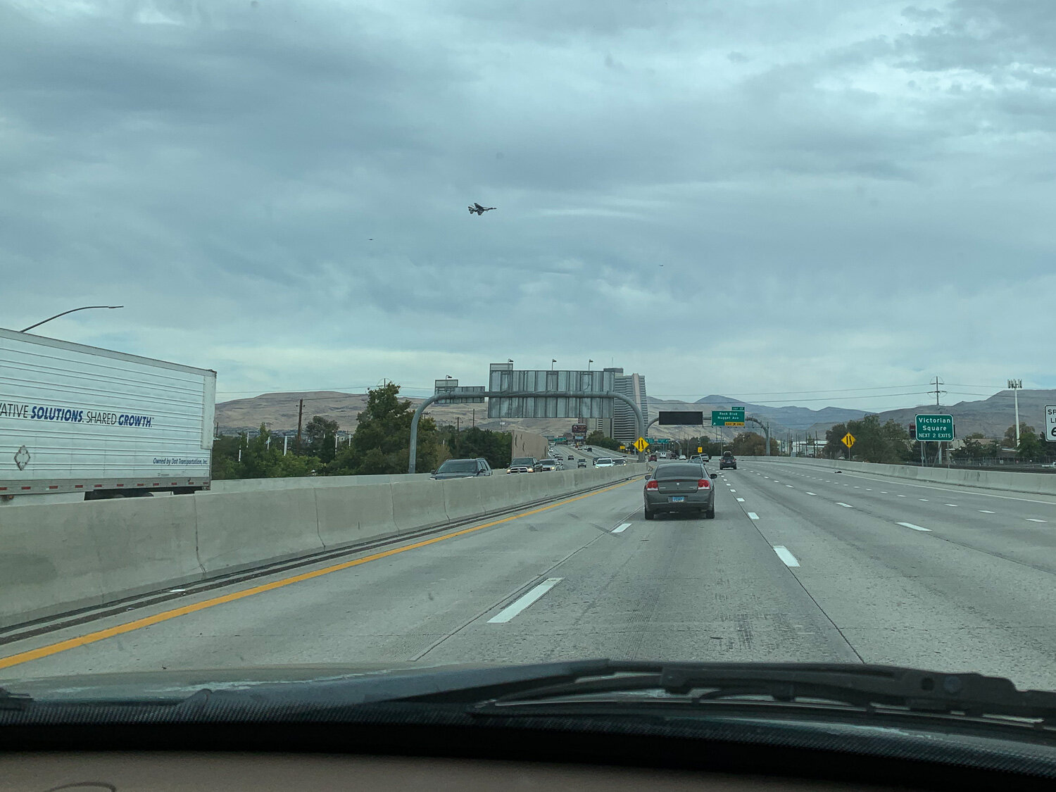Driving through Reno with Thunderbirds flying over.