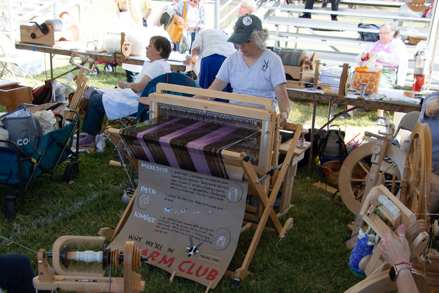 Weaving at sheep to shawl contest