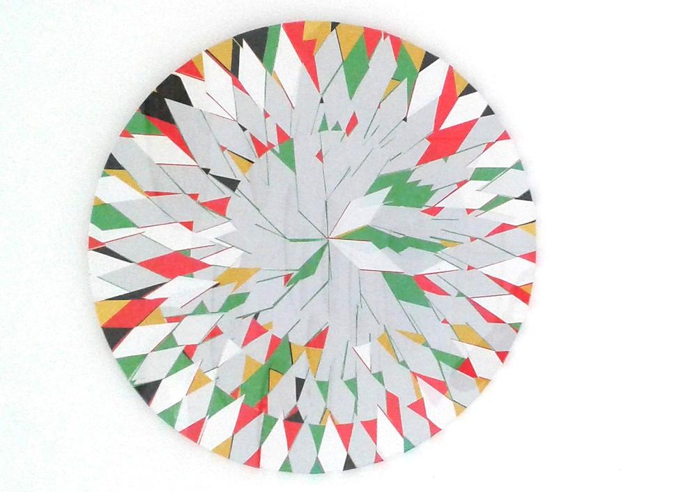 hybrid, multicoloured, 2016 warning tape on ply, perspex  750 cm dia