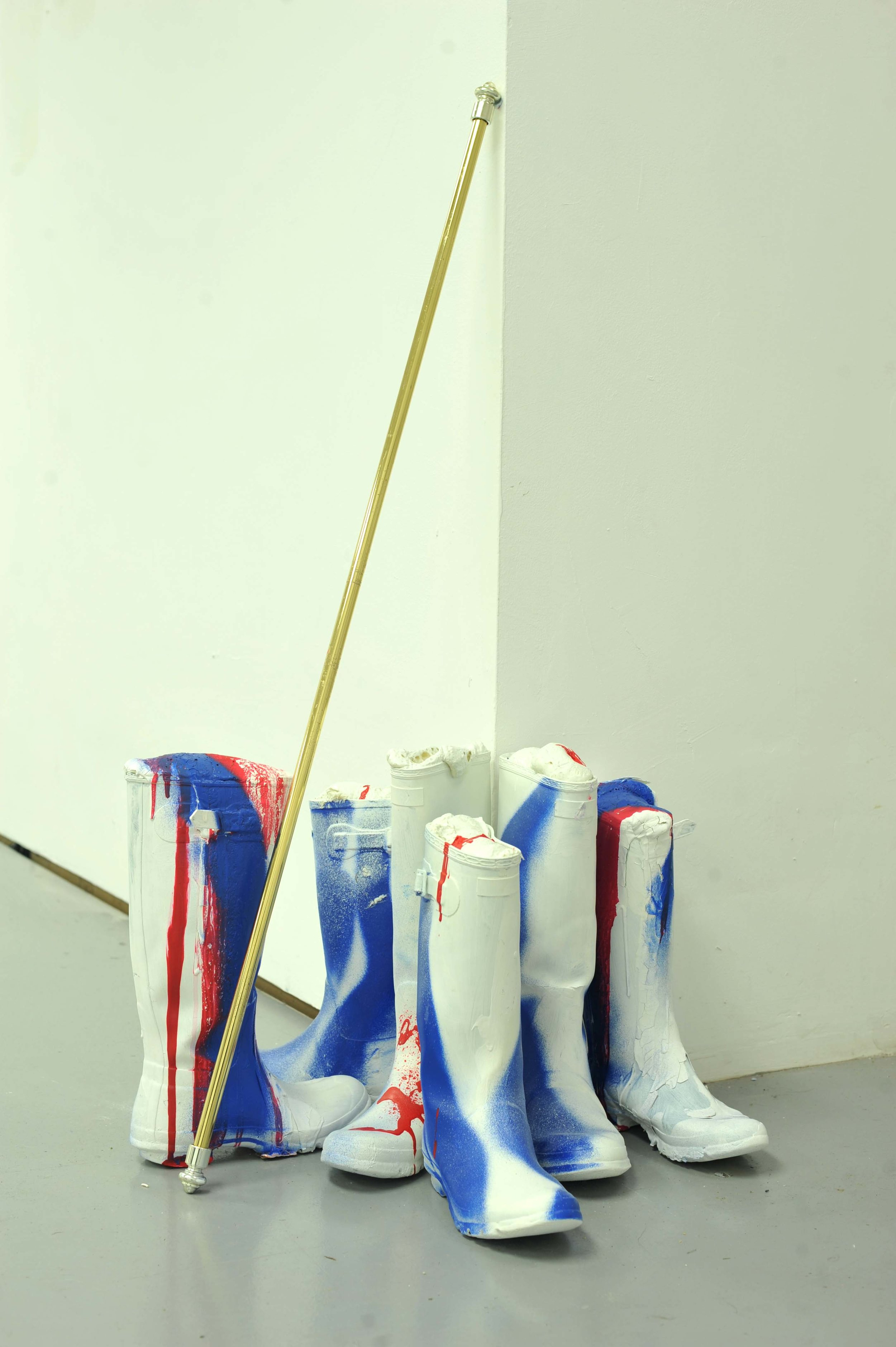Parade 2017  painted wellington boots, curtain pole