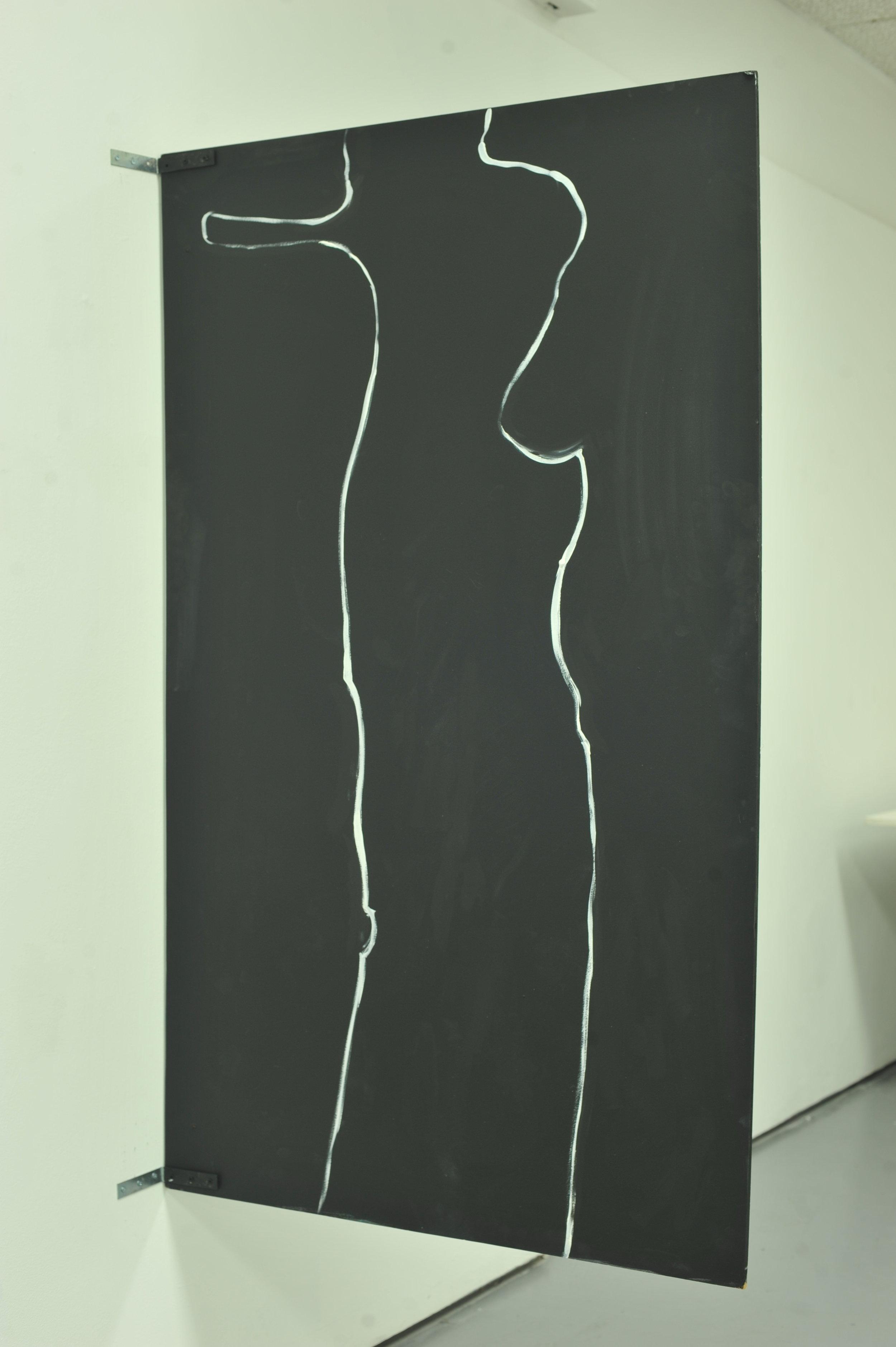 Dead nice part 1   2017  white paint on blackboard