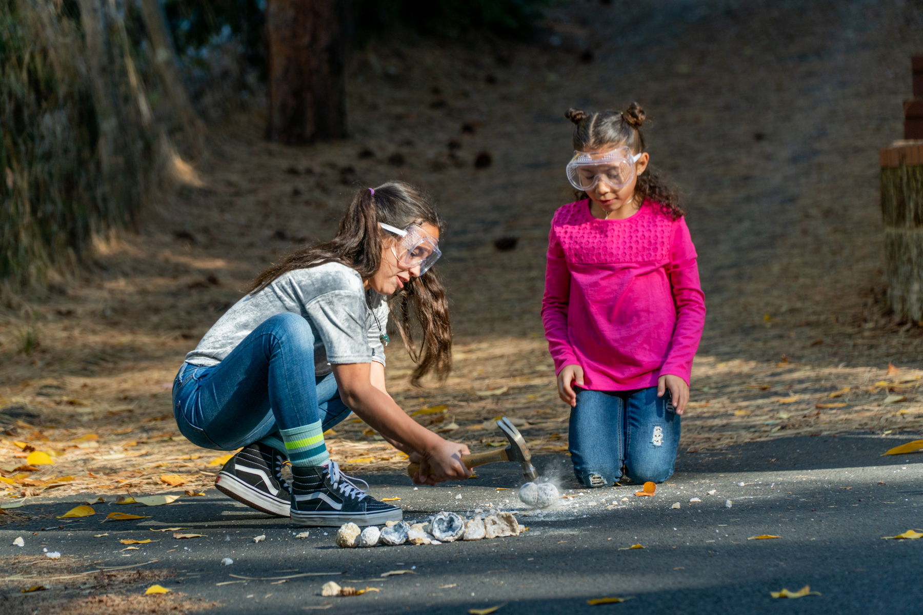 Cracking geodes is a fun science activity for kids!