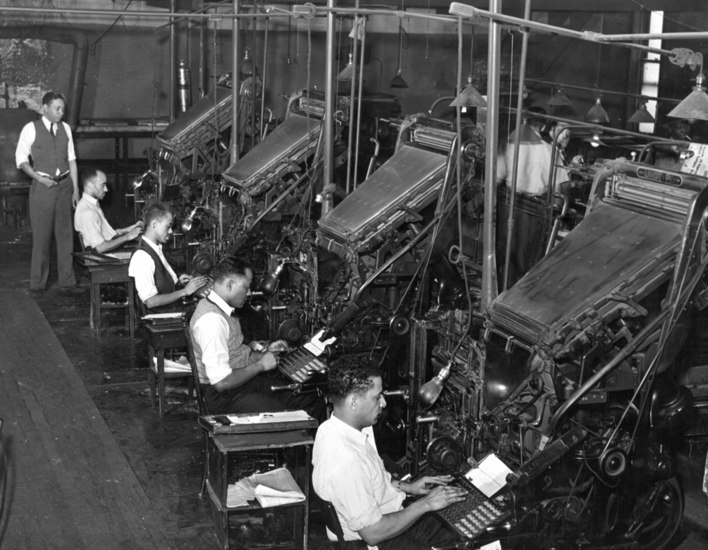 Row of Linotype operators at the Chicago Defender newspaper 1941.