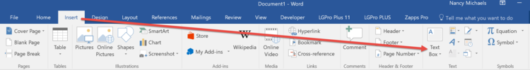 Text Box button on MS Word Insert Tab Ribbon