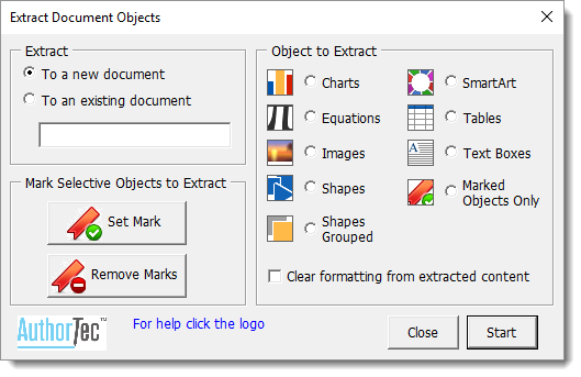AuthorTec Extract Objects Dialog Box