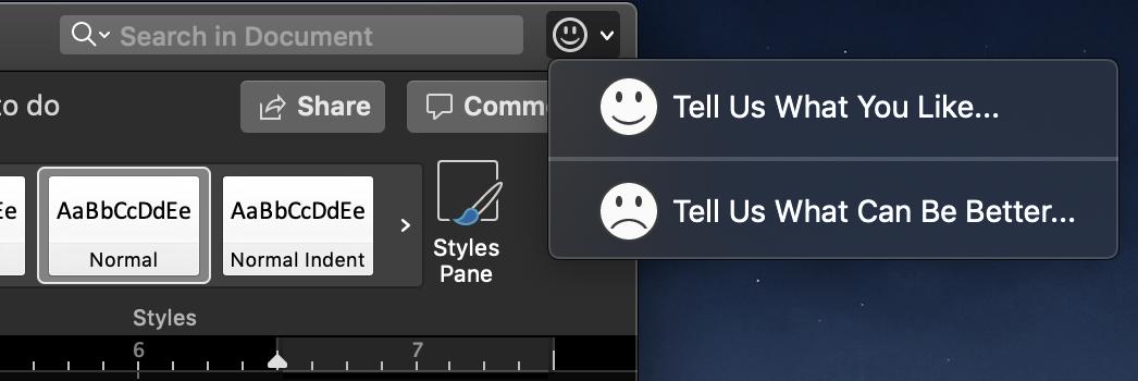 Mac Microsoft Word Feedback Buttons