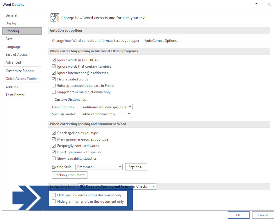 Microsoft Word Options Proofing Dialog Box