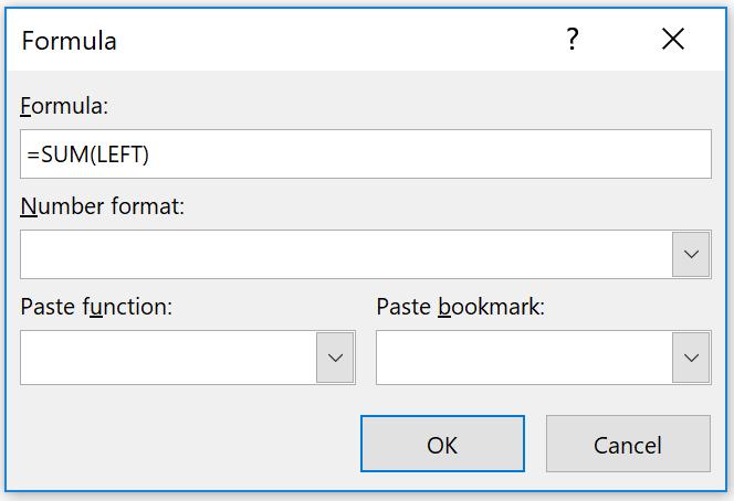 Word Table Layout Tab Formula Dialog Box