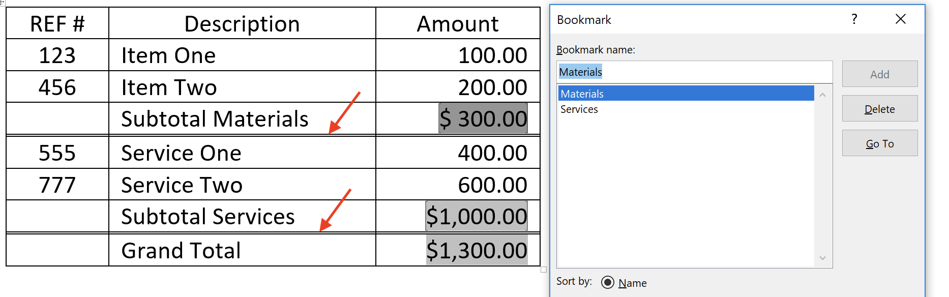 Microsoft Word Table Sum Functions Formatting Example