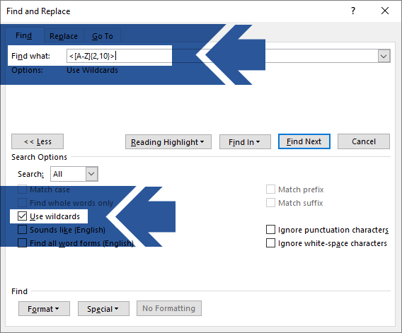 Microsoft Word Advanced Find and Replace Dialog box