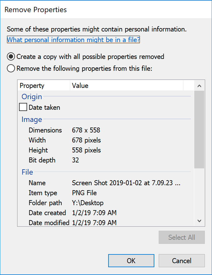 Screen shot of Remove Image Properties dialog box