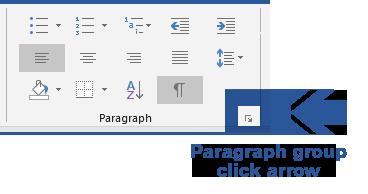 Paragraph Group - Click Arrow