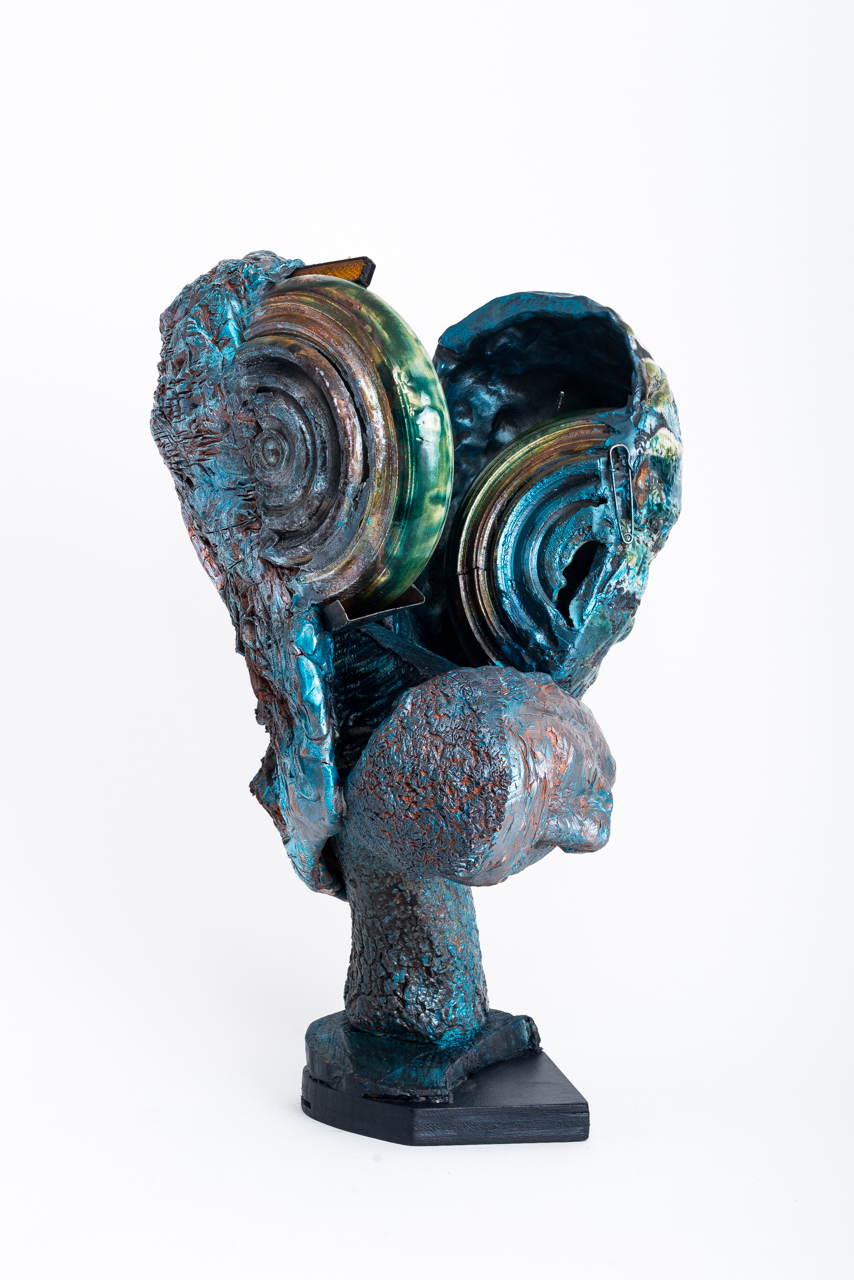 Fused Being #4  Second View 2018, ceramic, steel, copper, epoxy, 18x11x10""