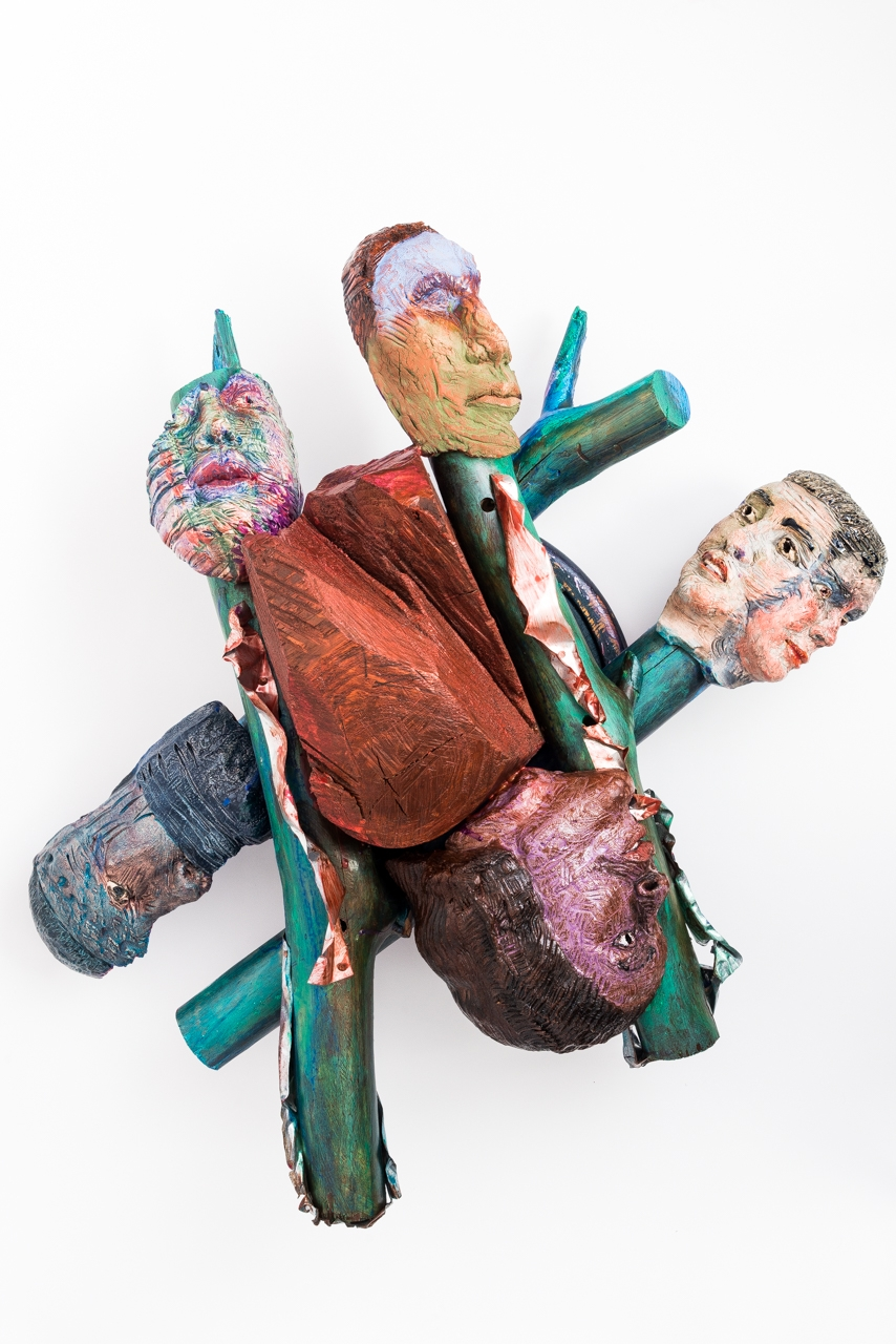 # Near-Death Researcher  2018, ceramic, wood, epoxy, steel, acrylic, bearings, 13x32x32""