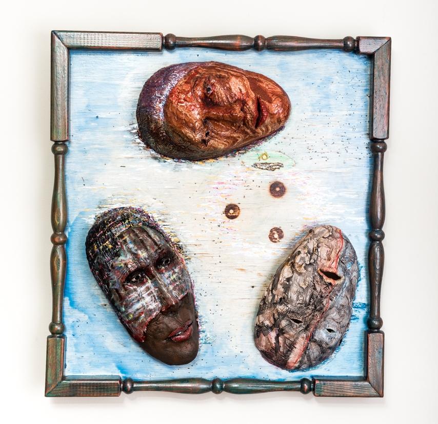 "Generational Chauvinism  Masks in Situ 2017, ceramic, wood, acrylic, 27x26x6"""