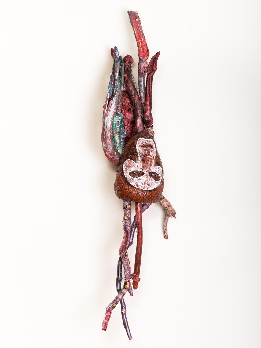"Hangman Hung  Mask in Situ 2017, ceramic, wood, epoxy, steel, acrylic, 41x13x8"""
