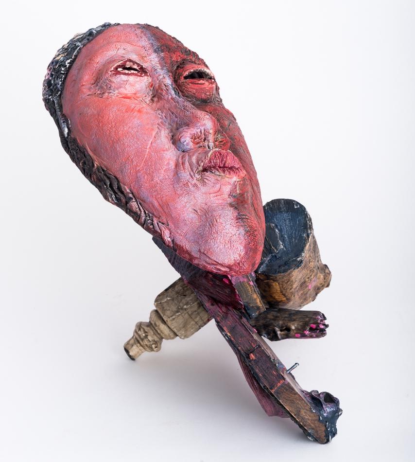"""Improvisation  First View, Mask in Situ 2017, ceramic, wood, epoxy, acrylic, 15x20x12"""""""