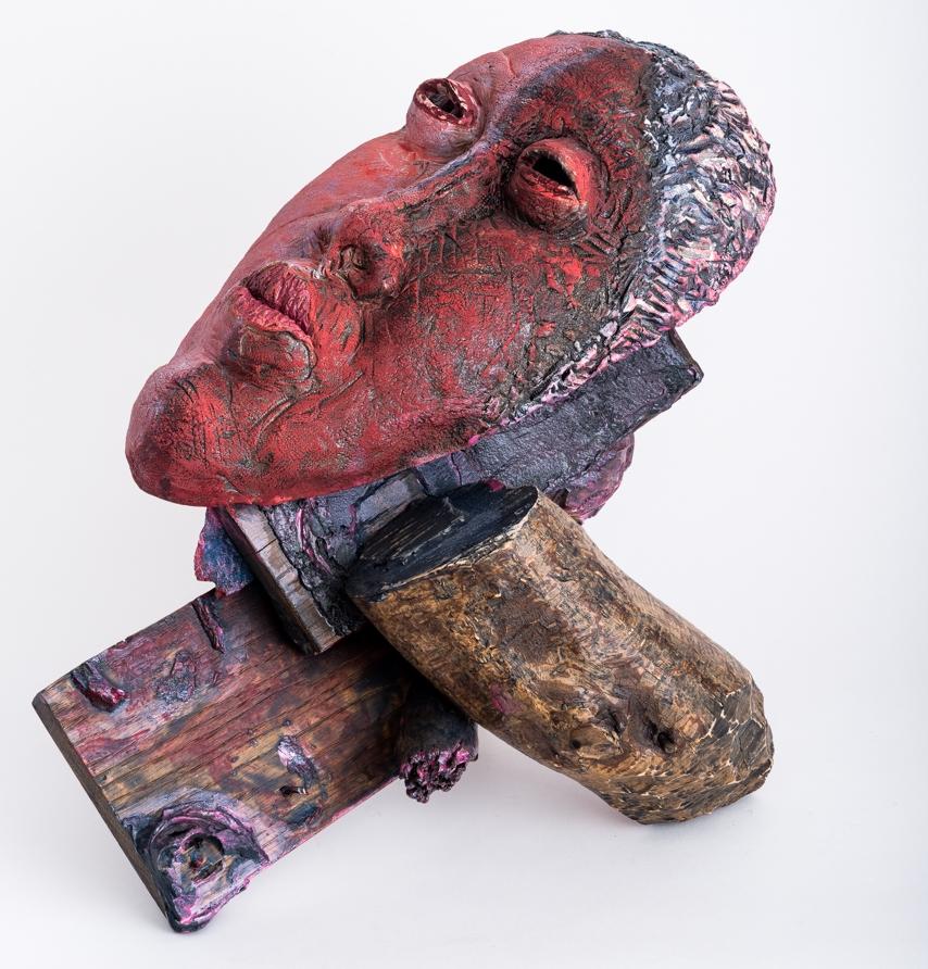 """Improvisation  Second View, Mask in Situ 2017, ceramic, wood, epoxy, acrylic, 15x20x12"""""""