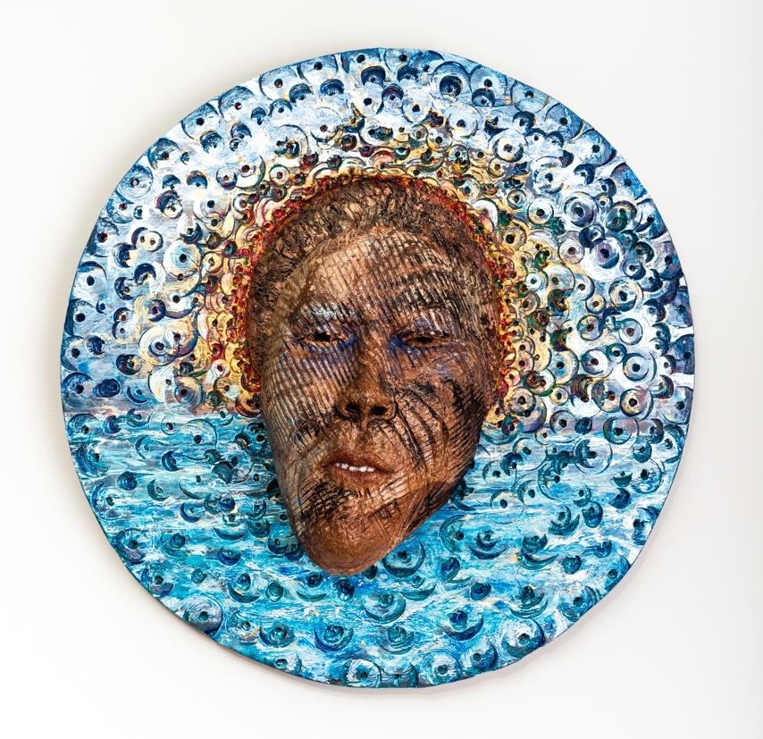 "Inspiration's Yolk  Mask in Situ 2017, ceramic, wood, acrylic, 25x25x8"""