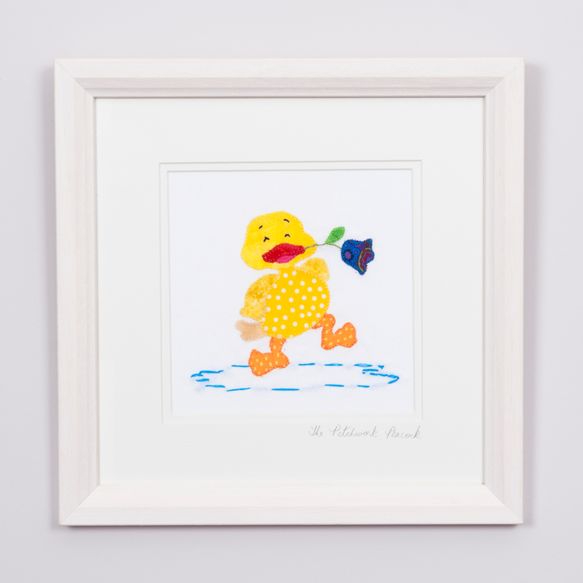 "Duck with Flower €35   6""x6"" in an 8""x8"" frame"