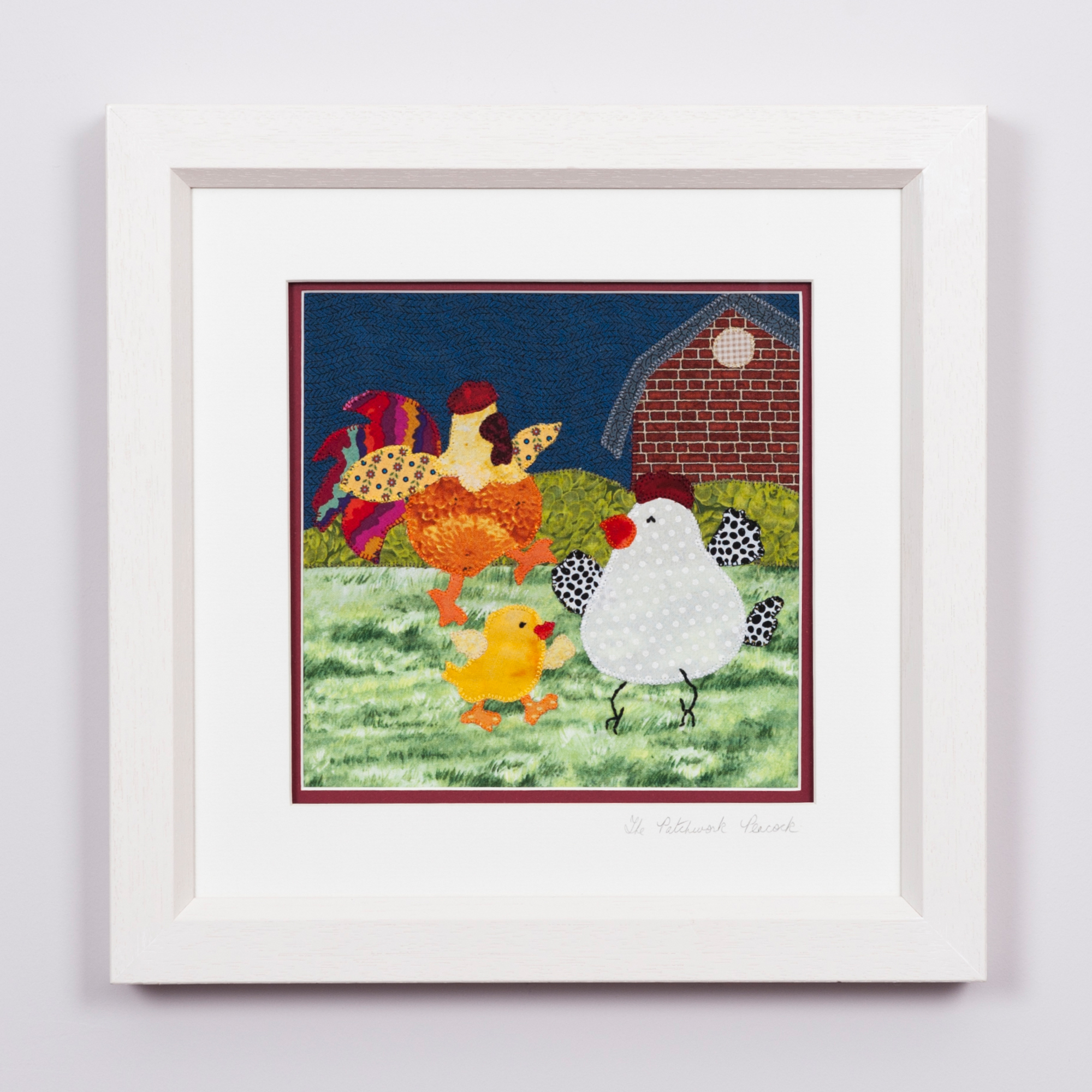 "CHICKENS AND FARMHOUSE €80   8""x8"" in an 10""x10"" frame"