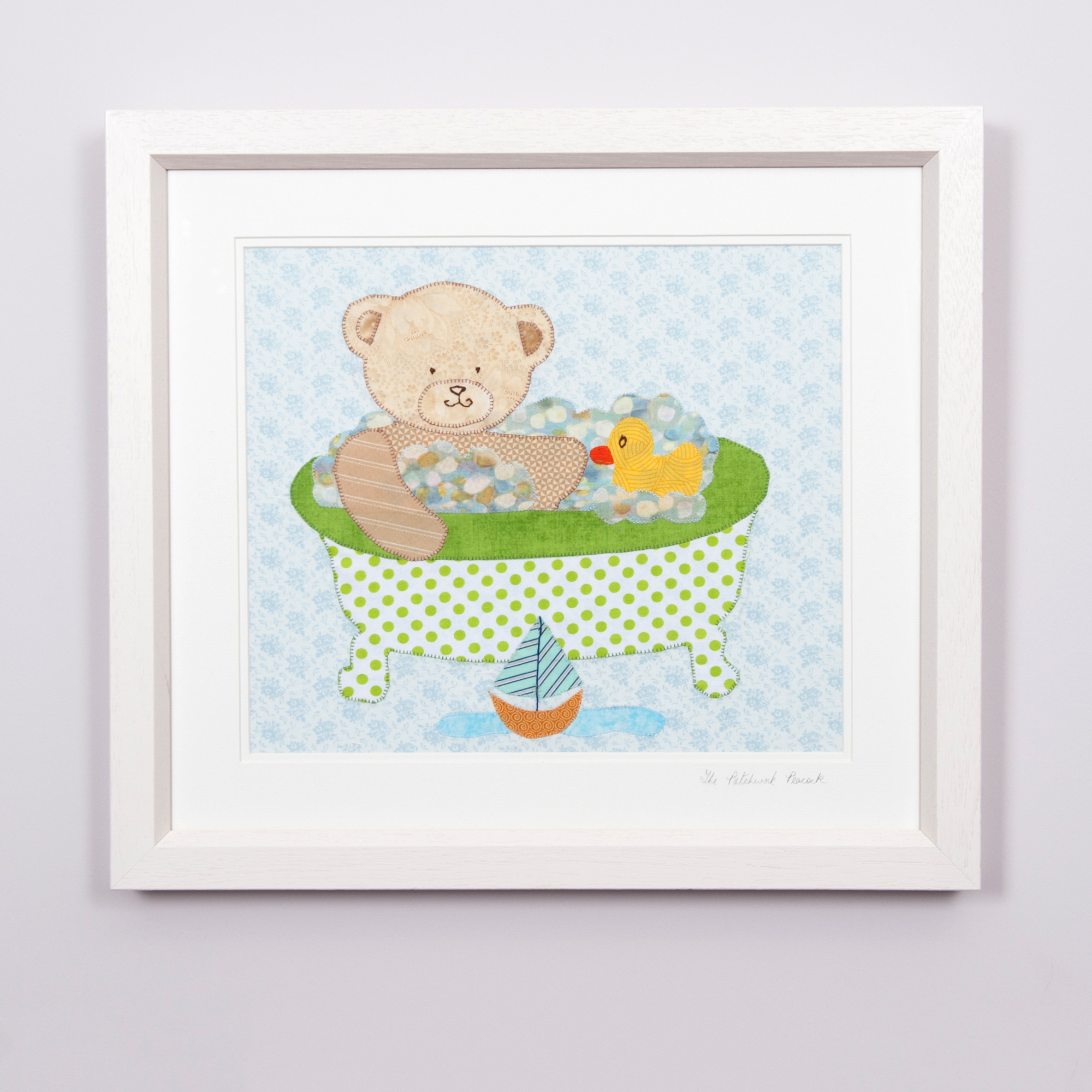 "- Teddy Bear Bath Time €9014""x12"" in an 21""x19"" frame"