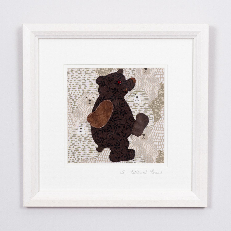 """Bashful Bear €45   6""""x6"""" in an 8""""x8"""" frame"""