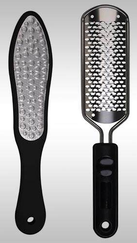 A pedicure rasp is a cheese-grater like tool used for filing off thick calluses. Yes, they can cut you.  Pictured bbove:  A pedicure set by Oneleaf .