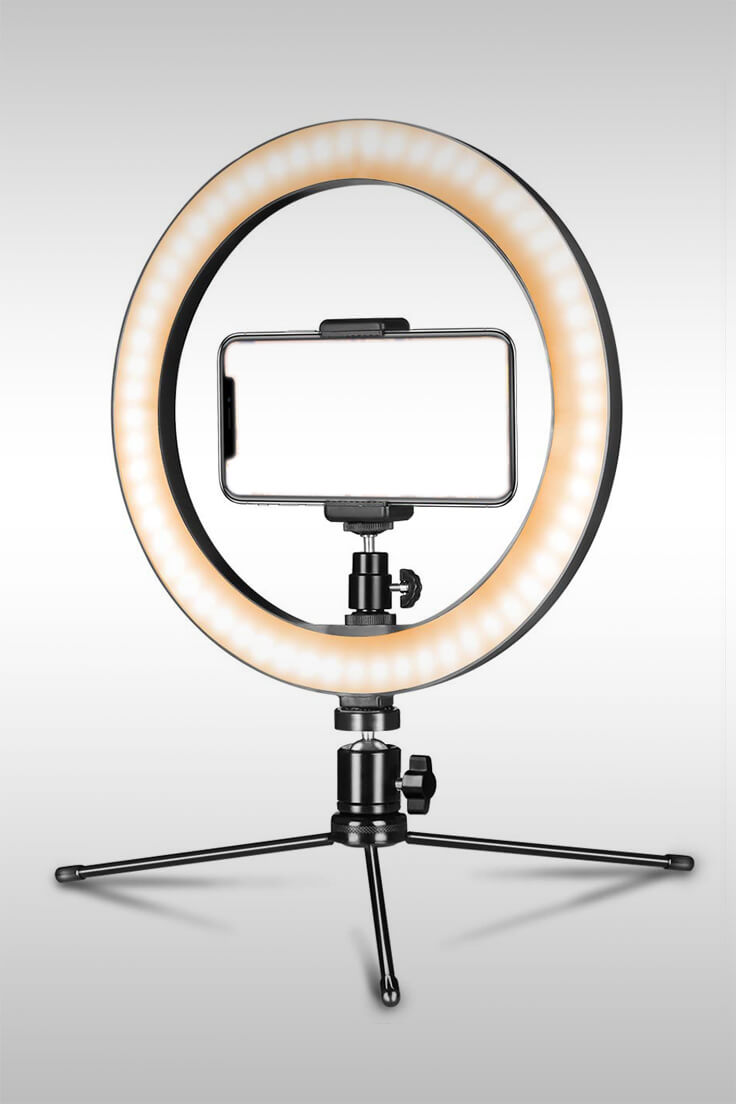 10 Inch LED Ring Light With Tripod Stand - Image Credit: Aixpi