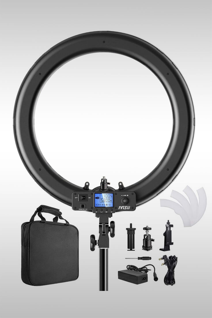 19 Inch Ring Light With LCD Displau - Image Credit: Ivisii