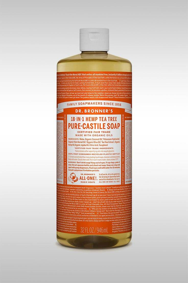 Pure-Castile Tea Tree Oil Liquid Soap - Image Credit: Dr. Bronner'