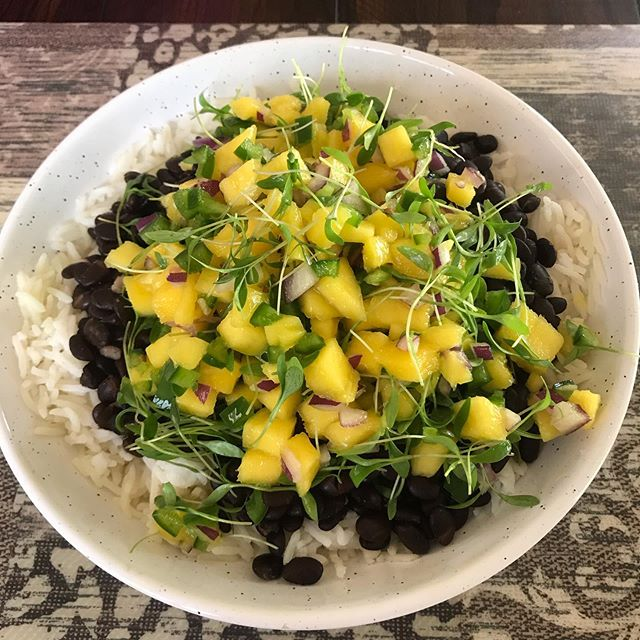 Mango, jalapeno, onion, and micro-cilantro atop rice and beans #greens #saladbowl #cookathome #vegetablegarden #microgreens #beans #rice #mandysrecipe #plantbased #farmersdiet
