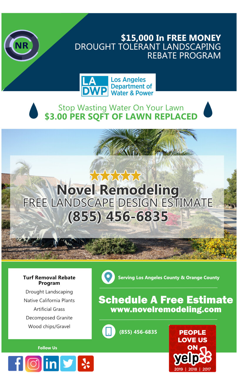 Drought Landscaping Rebate Program flyer - Novel Remodeling