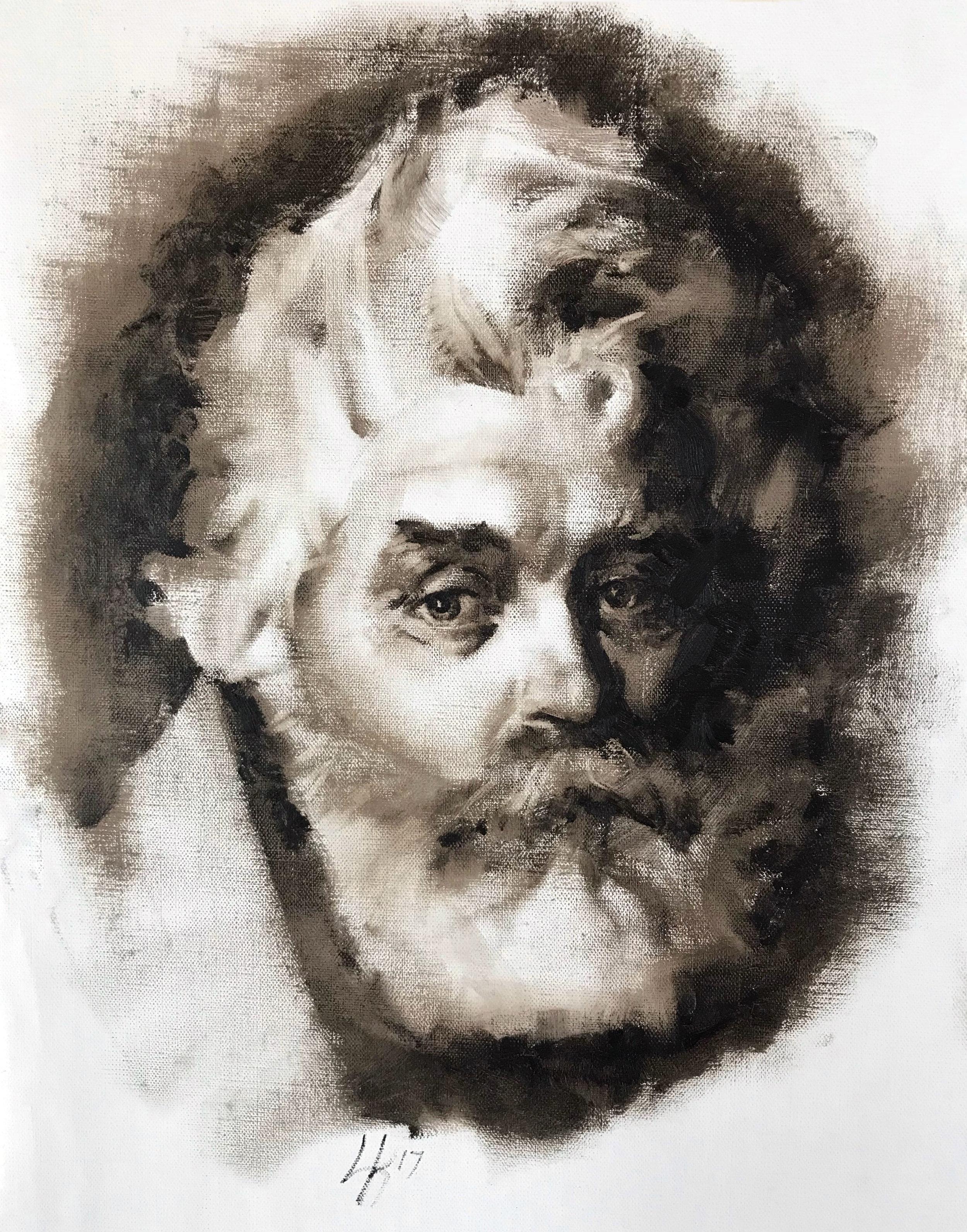"""Monochrome Male Portrait 1 9""""x12"""""""