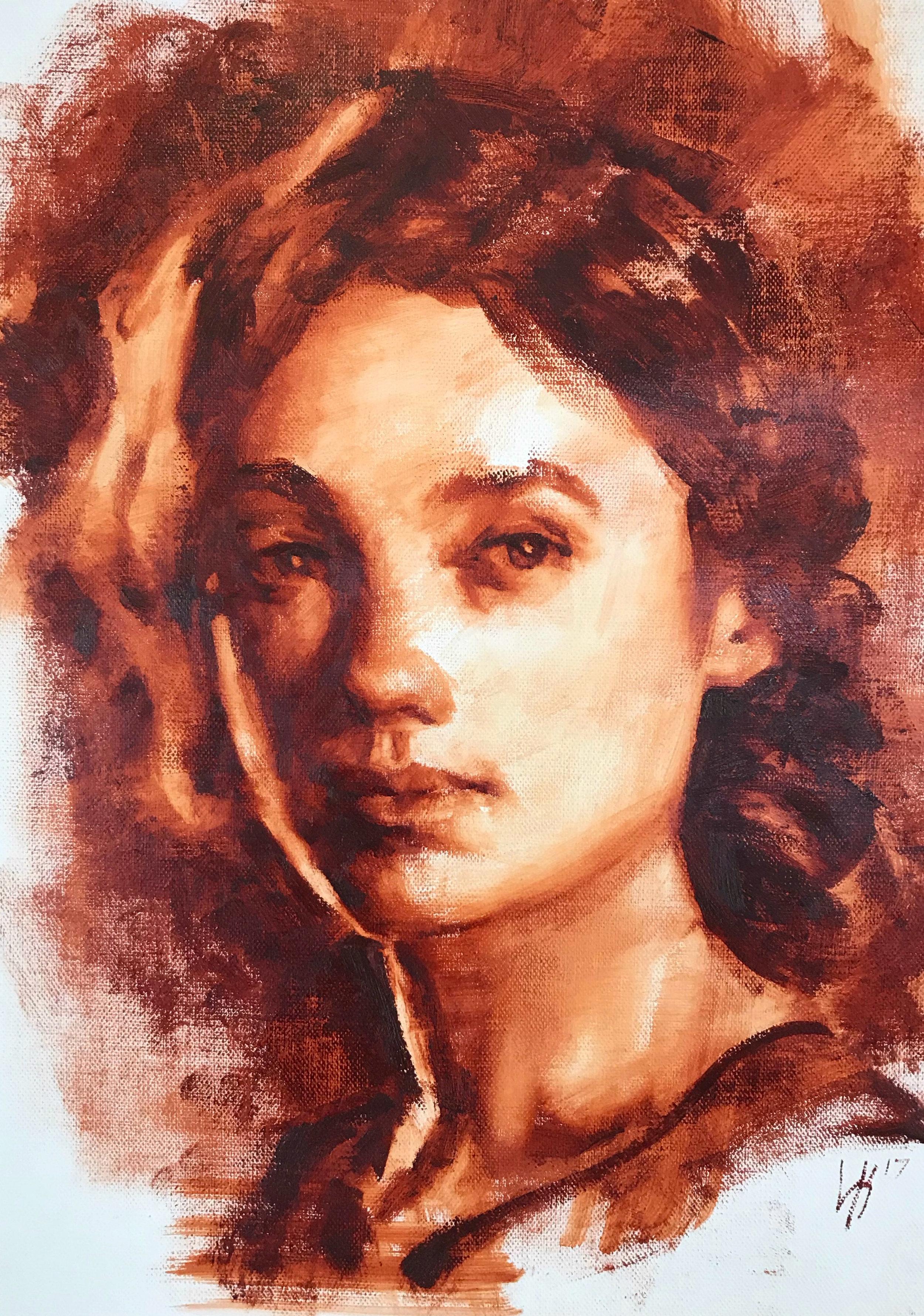 "Monochrome Female Portrait 3 9""x12"""