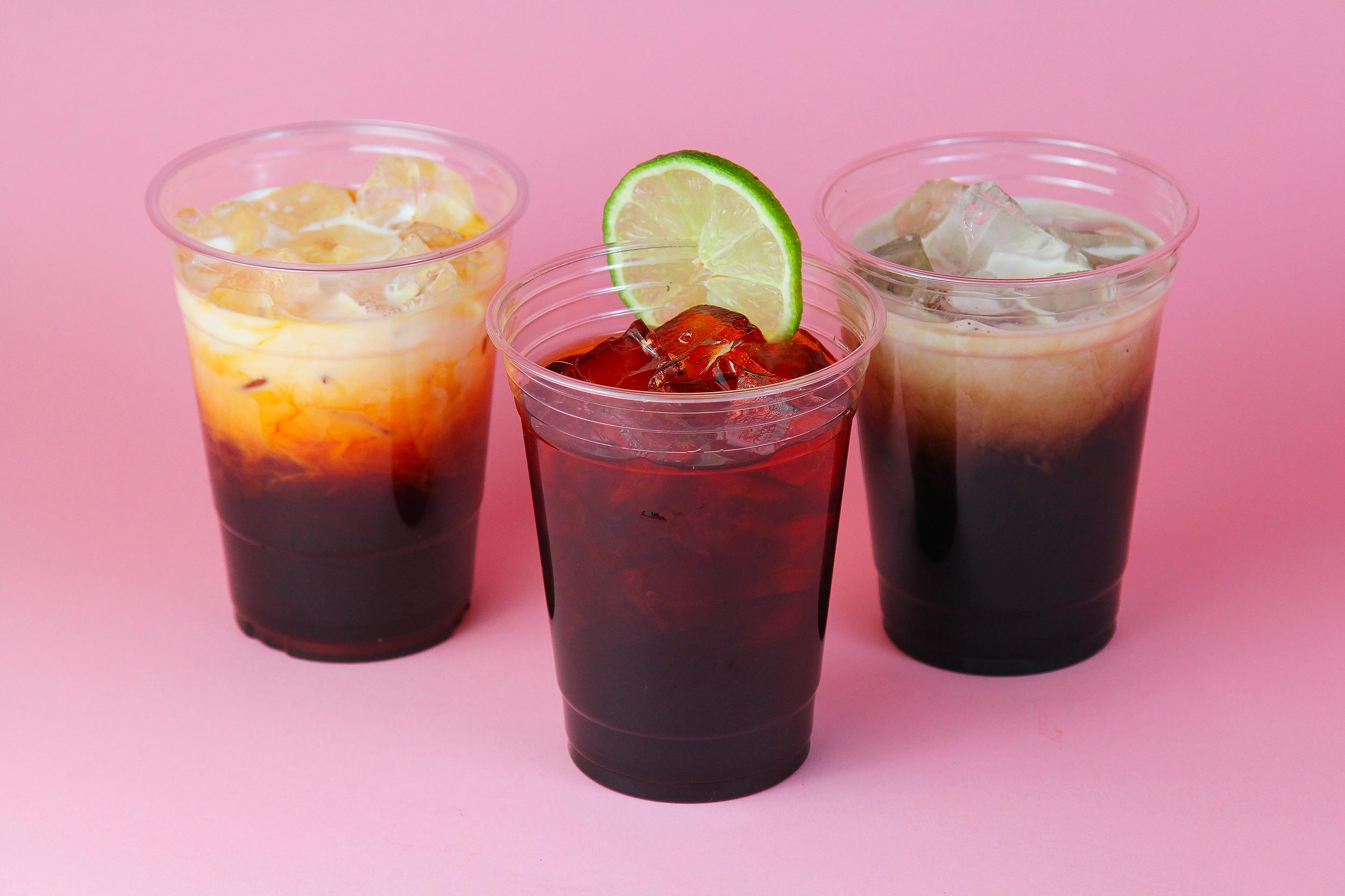 Thai Iced Tea  4   Thai Iced Tea with Lime  4   Thai Iced Coffee  4   Soda  2