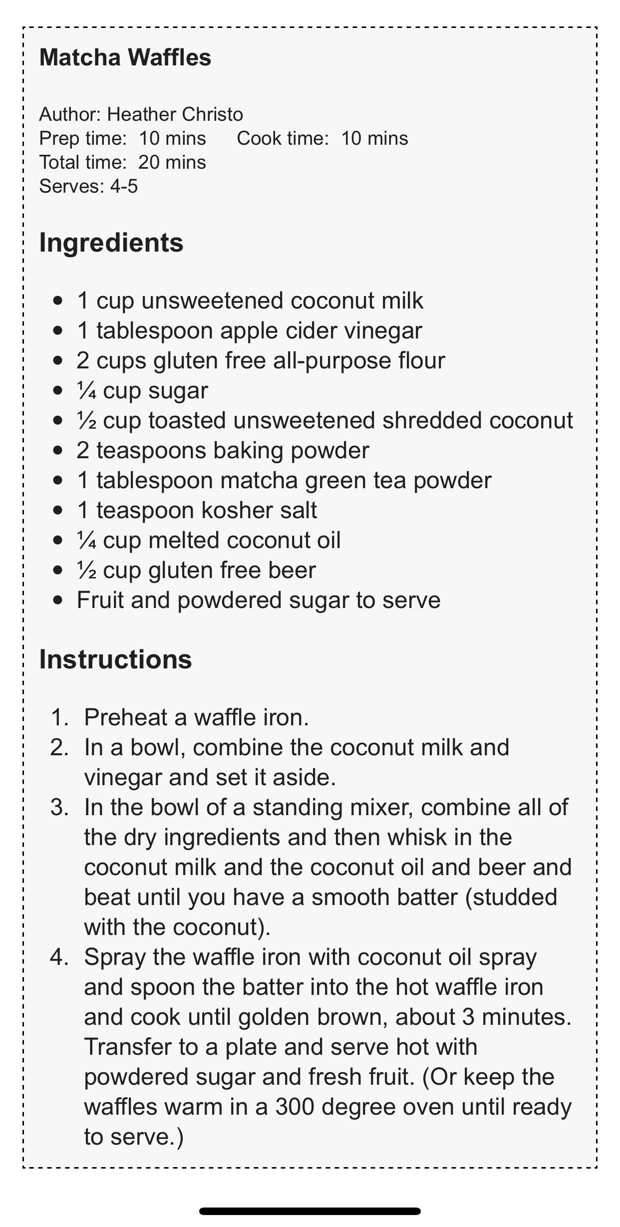 Matcha waffle recipe by Heather Christo